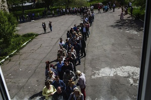 Voting Line In Ukraine